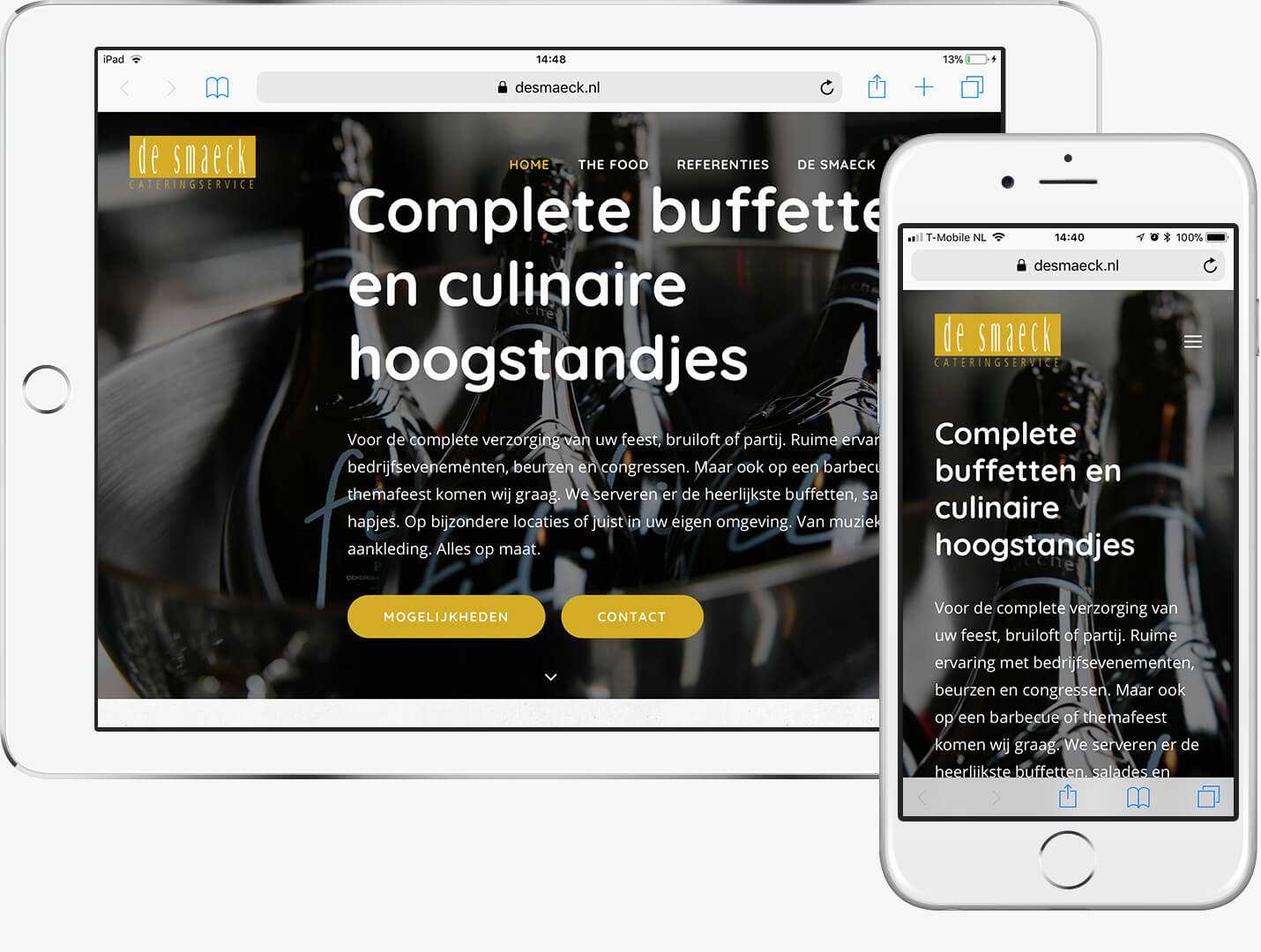 WordPress website De Smaeck Cateringservice Vijfhuizen